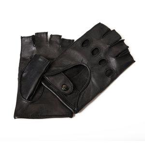 autohandschoenen heren zwart lamsleer halve vingers Economy Line Premium