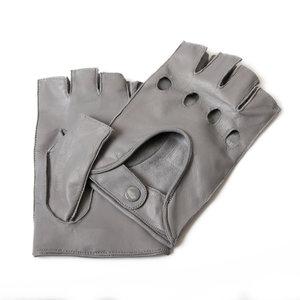 autohandschoenen heren frosted grey lamsleer met halve vingers Economy Line Premium